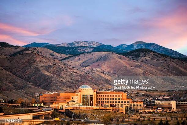 jefferson county courthouse colorado and foothills drone view - コロラド州ジェファーソン郡 ストックフォトと画像