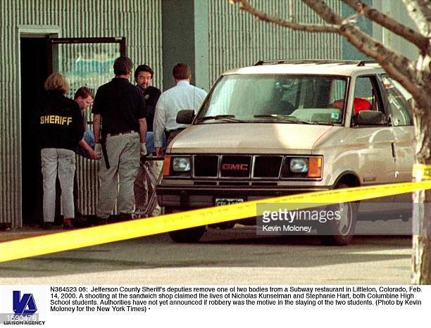 Jefferson County Sheriff's deputies remove one of two bodies from a Subway restaurant in Littleton Colorado Feb 14 2000 A shooting at the sandwich...
