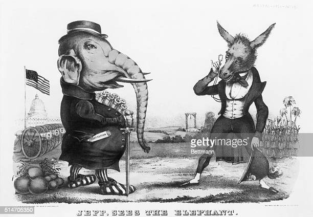 Jeff sees the elephant North and South Jefferson Davis with quizzing glass and donkeys Elephant carries cannons Undated political cartoon BPA