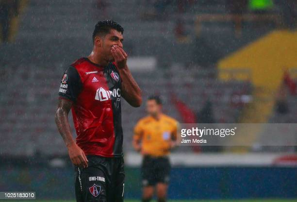 Jefferson Duque of Atlas gestures during the 7th round match between Atlas and Chivas as part of the Torneo Apertura 2018 Liga MX at Jalisco Stadium...