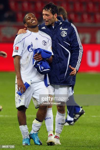 Jefferson Farfan and Kevin Kuranyi of Schalke celebrate the 20 victory after the Bundesliga match between Bayer Leverkusen and FC Schalke 04 at the...