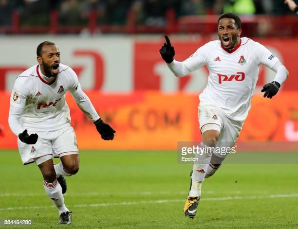 Jefferson Farfan and Manuel Fernandes of FC Lokomotiv Moscow celebrate after scoring a goal during the Russian Premier League match between FC...
