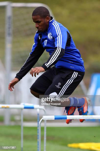 Jefferson Farfan attends the training session of FC Schalke 04 at their training ground ahead of the UEFA Champions League group B match between FC...