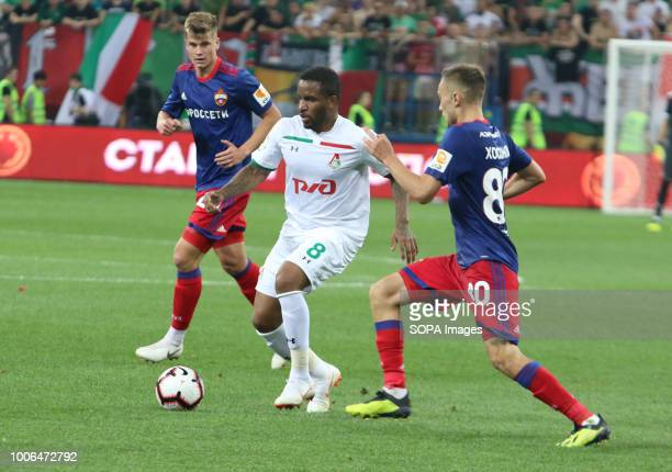 Jefferson Farfan from Lokomotiv Moscow seen in action with Yaka Biyo and Hegar Hosonov from CSKA Moscow surrounding him during the 2018 Russian Super...