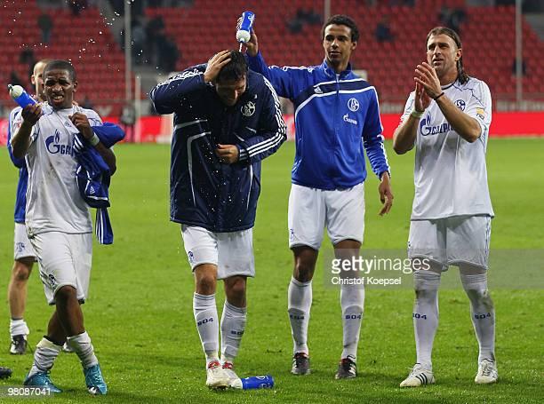 Jefferson Farfan Kevin Kuranyi Joel Matip and Marcelo Bordon of Schalke celebrate the 20 victory after the Bundesliga match between Bayer Leverkusen...