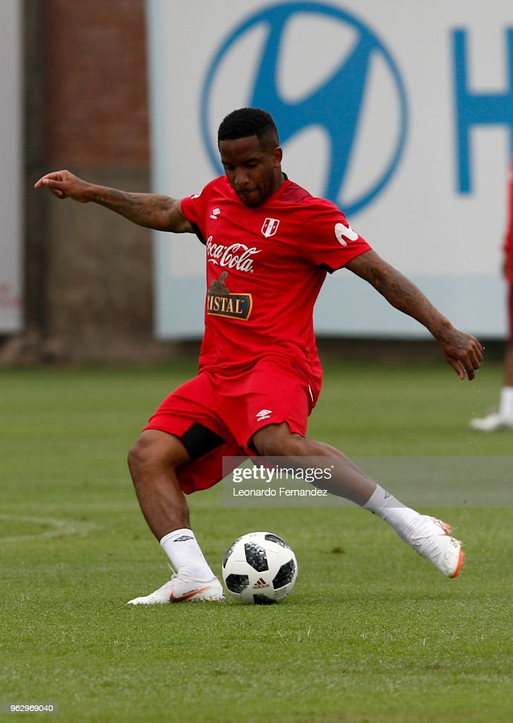 Jefferson Farfan kicks the ball during a training session ahead of FIFA World Cup Russia 2018 on May 25, 2018 in Lima, Peru.