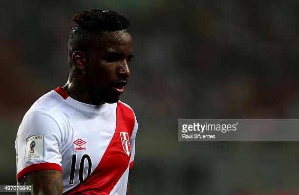 Jefferson Farfan looks on during a match between Peru and Paraguay as part of FIFA 2018 World Cup Qualifiers at Nacional Stadium on November 13 2015...