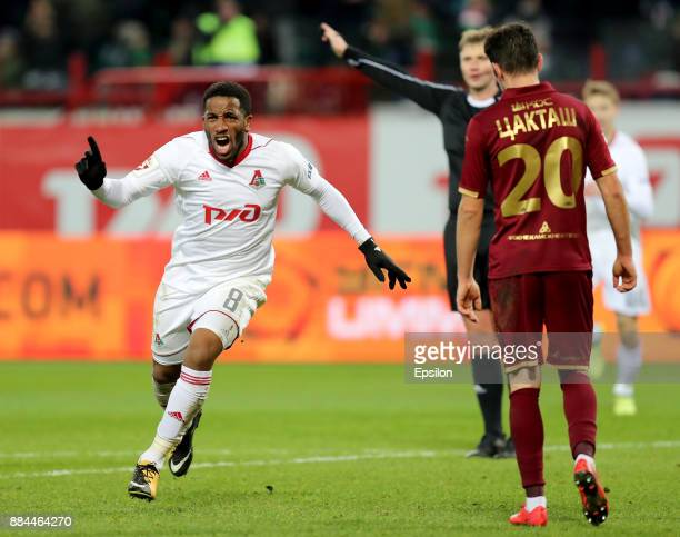 Jefferson Farfan of FC Lokomotiv Moscow celebrates after scoring a goal during the Russian Premier League match between FC Lokomotiv Moscow and FC...