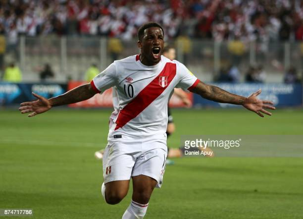Jefferson Farfan of Peru celebrates after scoring the opening goal during a second leg match between Peru and New Zealand as part of the 2018 FIFA...