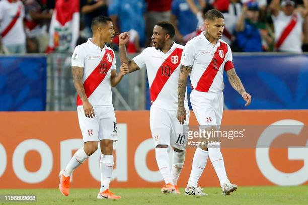 Jefferson Farfan of Peru celebrates after scoring the second goal of his team during the Copa America Brazil 2019 group A match between Bolivia and...