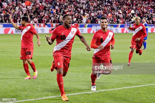 Jefferson Farfan of Peru celebrates after scoring the third goal of his team against Iceland in an International Friendly match at Red Bull Arena on...