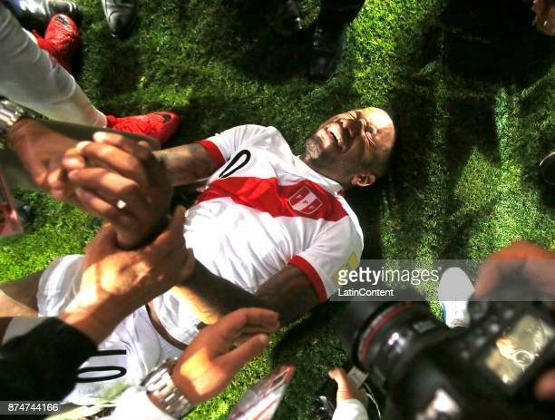 Jefferson Farfan of Peru celebrates the qualification after a second leg match between Peru and New Zealand as part of the 2018 FIFA World Cup...