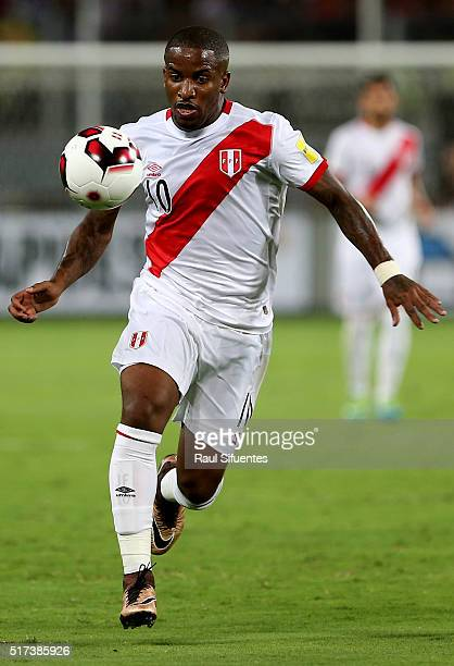 Jefferson Farfan of Peru in action during a match between Peru and Venezuela as part of FIFA 2018 World Cup Qualifiers at Nacional Stadium on March...