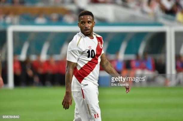Jefferson Farfan of Peru looks on during the international friendly match between Peru and Croatia at Hard Rock Stadium on March 23 2018 in Miami...