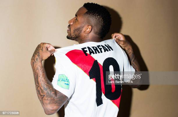 Jefferson Farfan of Peru poses for a portrait during the official FIFA World Cup 2018 portrait session on June 11, 2018 in Moscow, Russia.