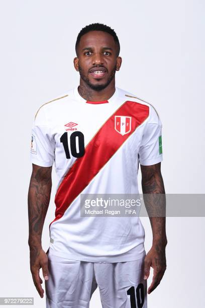 Jefferson Farfan of Peru poses for a portrait during the official FIFA World Cup 2018 portrait session at the Team Hotel on June 11 2018 in Moscow...