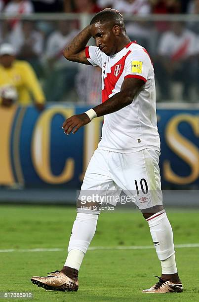 Jefferson Farfan of Peru reacts during a match between Peru and Venezuela as part of FIFA 2018 World Cup Qualifiers at Nacional Stadium on March 24...