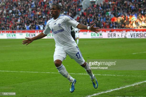 Jefferson Farfan of Schalke celebrates the first goal during the Bundesliga match between Bayer 04 Leverkusen and FC Schalke 04 at BayArena on...