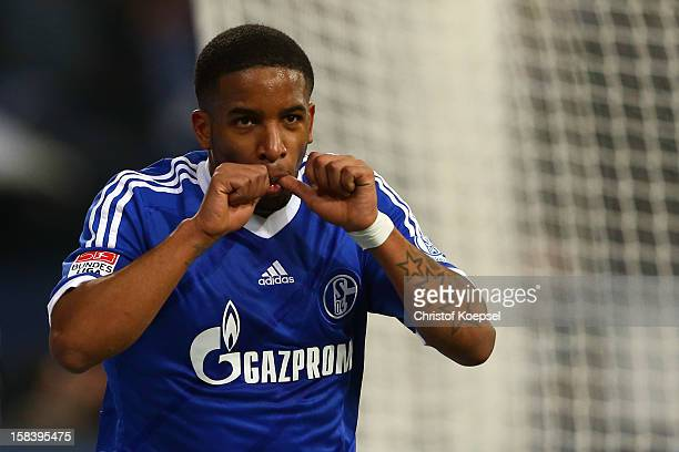 Jefferson Farfan of Schalke celebrates the first goal during the Bundesliga match between FC Schalke 04 and SC Freiburg at Veltins-Arena on December...
