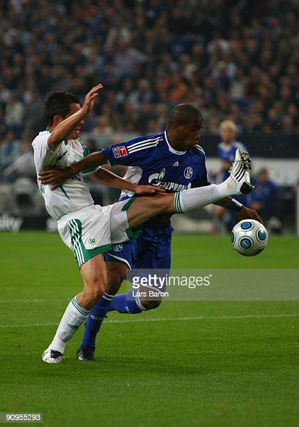 Jefferson Farfan of Schalke is challenged by Marcel Schaefer of Wolfsburg during the Bundesliga match between FC Schalke 04 and VfL Wolfsburg at...