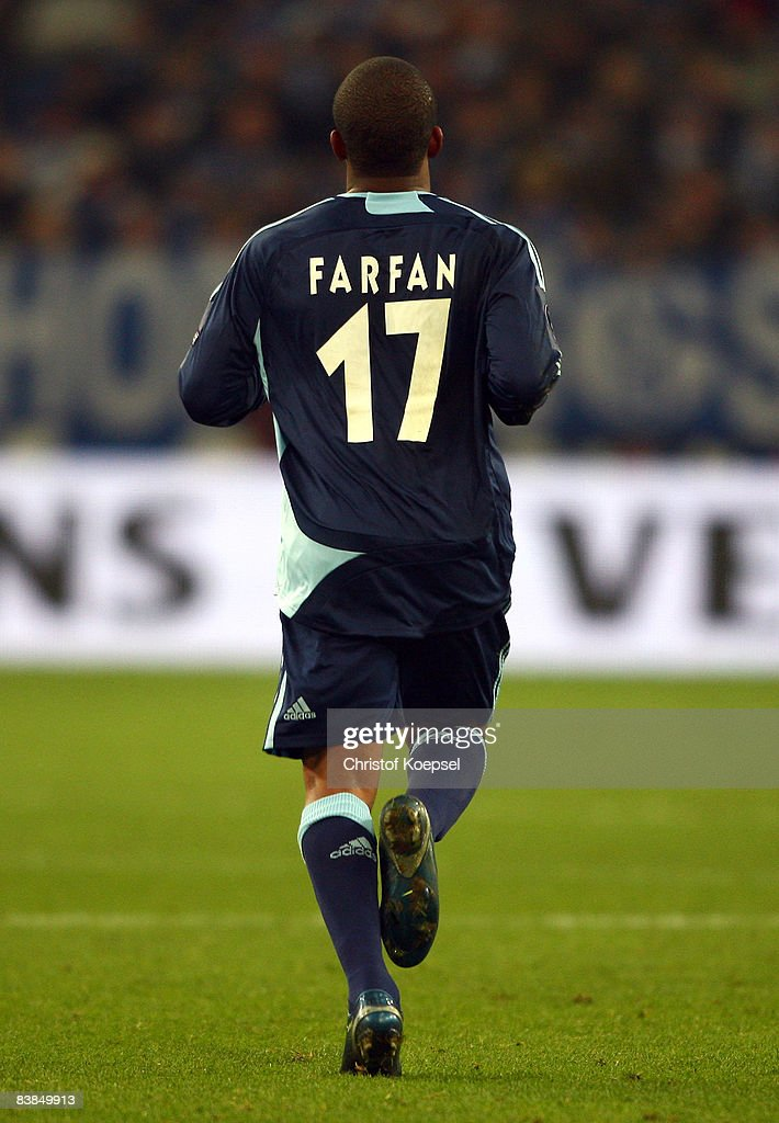 Jefferson Farfan of Schalke is seen from the back during the UEFA Cup Group A match between FC Schalke 04 and Manchester City at the Veltins Arena on November 27, 2008 in Gelsenkirchen, Germany.