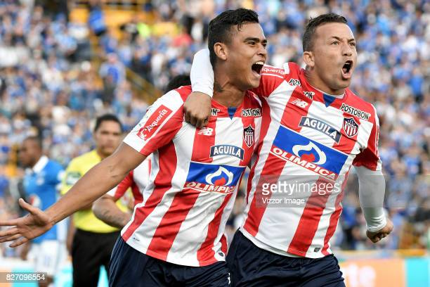 Jefferson Gomez of Atletico Junior celebrates after scoring the first goal of his team during a match between Millonarios and Atletico Junior as part...