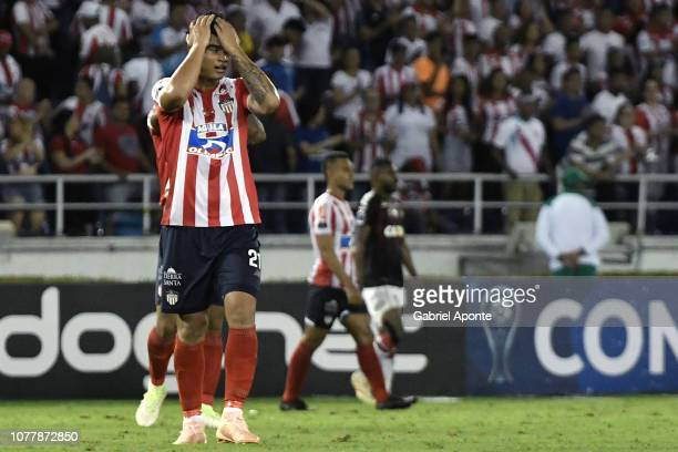 Jefferson Gomez of junior looks dejected after the first leg of the final of Copa Sudamericana 2018 between Junior and Atlético Paranaense at Estadio...