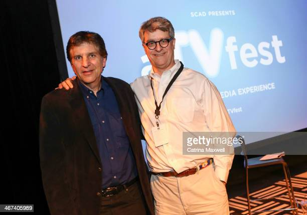 Jefferson Graham and Fred Seibert pose at aTVfest on February 6 2014 in Atlanta Georgia