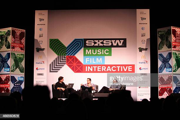 Jefferson Graham of USA Today Cameron Winklevoss and Tyler Winklevoss speak onstage at 'Bitcoin What It Needs To Succeed' during the 2015 SXSW Music...