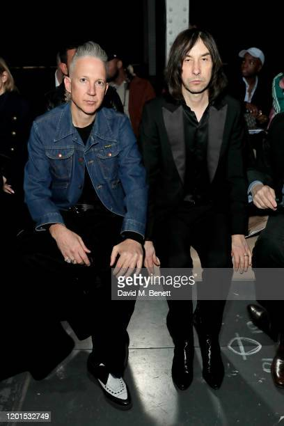 Jefferson Hack and Bobby Gillespie attend the Burberry Autumn/Winter 2020 show during London Fashion Week at Kensington Olympia on February 17, 2020...