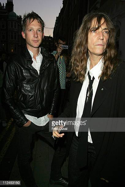 Jefferson Hack and Patti Smith during Robert Mapplethorpe Exhibition Private View Outside Arrivals at Alison Jacques Gallery in London Great Britain