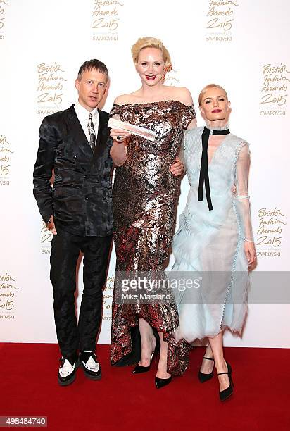 Jefferson Hack Gwendoline Christie and Kate Bosworth pose in the Winners Room at the British Fashion Awards 2015 at London Coliseum on November 23...