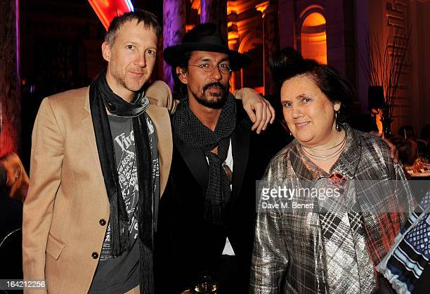 Jefferson Hack Haider Ackerman and Suzy Menkes attend the dinner to celebrate The David Bowie Is exhibition in partnership with Gucci and Sennheiser...