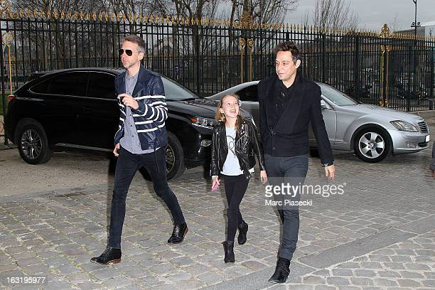 Jefferson Hack Lila Grace Moss and Jamie Hince are sighted arriving at the 'Louis Vuitton' fashion show on March 6 2013 in Paris France