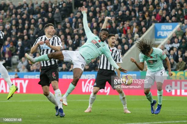 Jefferson Lerma and Nathan Ake of Bournemouth during the Premier League match between Newcastle United and AFC Bournemouth at St. James Park on...