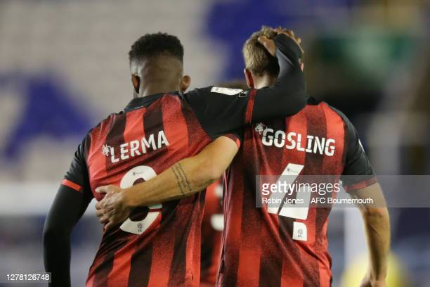 Jefferson Lerma congratulates fellow goalscorer Dan Gosling of Bournemouth after Gosling makes it 3-1 during the Sky Bet Championship match between...