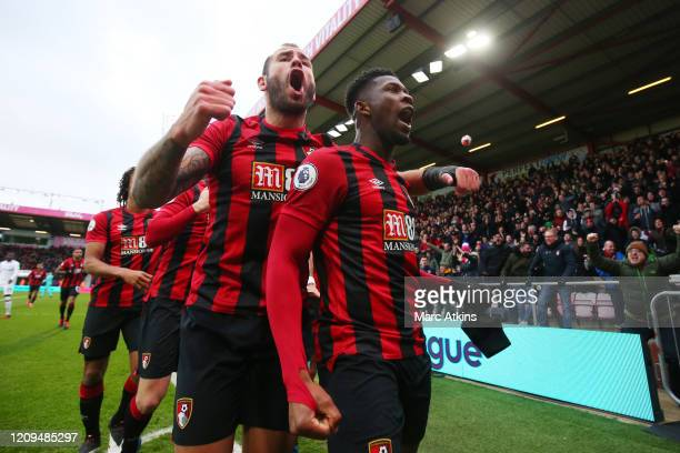 Jefferson Lerma of AFC Bournemouth celebrates after scoring his team's first goal during the Premier League match between AFC Bournemouth and Chelsea...