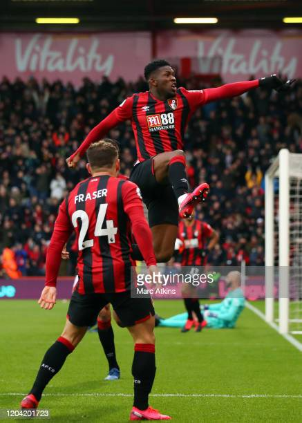 Jefferson Lerma of AFC Bournemouth celebrates scoring their 1st goal with Ryan Fraser during the Premier League match between AFC Bournemouth and...