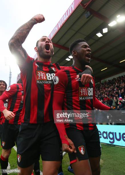 Jefferson Lerma of AFC Bournemouth celebrates scoring their 1st goal with Steve Cook during the Premier League match between AFC Bournemouth and...