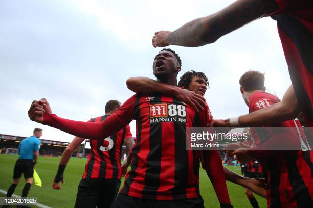 Jefferson Lerma of AFC Bournemouth celebrates scoring their 1st goal with team mates during the Premier League match between AFC Bournemouth and...