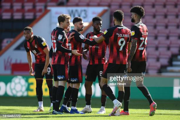 Jefferson Lerma of AFC Bournemouth celebrates with team mates after scoring their side's second goal during the Sky Bet Championship match between...