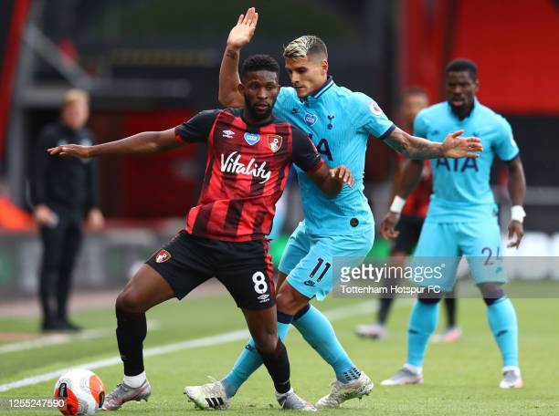 Jefferson Lerma of AFC Bournemouth is challenged by Erik Lamela of Tottenham Hotspur during the Premier League match between AFC Bournemouth and...