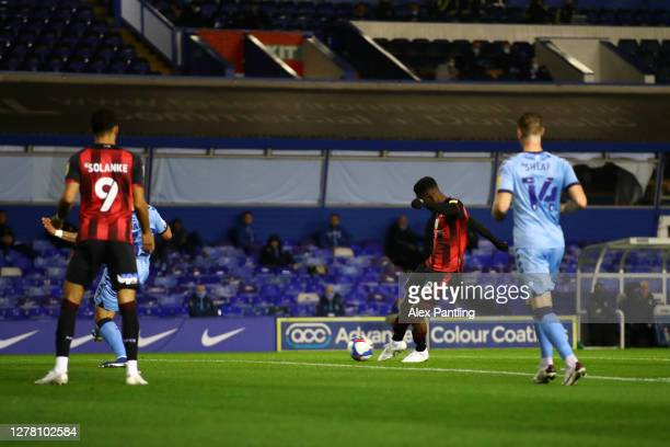 Jefferson Lerma of AFC Bournemouth scores his team's first goal during the Sky Bet Championship match between Coventry City and AFC Bournemouth at St...