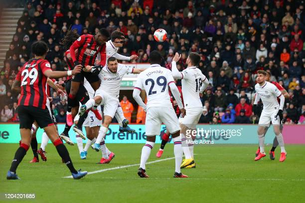 Jefferson Lerma of AFC Bournemouth scores their 1st goal during the Premier League match between AFC Bournemouth and Chelsea FC at Vitality Stadium...