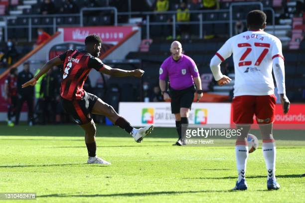Jefferson Lerma of AFC Bournemouth scores their side's second goal during the Sky Bet Championship match between AFC Bournemouth and Middlesbrough at...