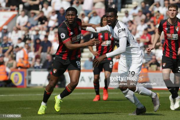 Jefferson Lerma of Bournemouth and AndreFrank Zambo Anguissa of Fulham during the Premier League match between AFC Bournemouth and Fulham FC at...