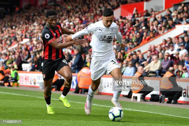 Jefferson Lerma of Bournemouth and Dwight McNeil of Burnley in action during the Premier League match between AFC Bournemouth and Burnley FC at...