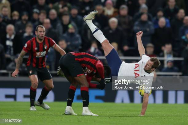 Jefferson Lerma of Bournemouth and Harry Kane of Tottenham Hotspur during the Premier League match between Tottenham Hotspur and AFC Bournemouth at...