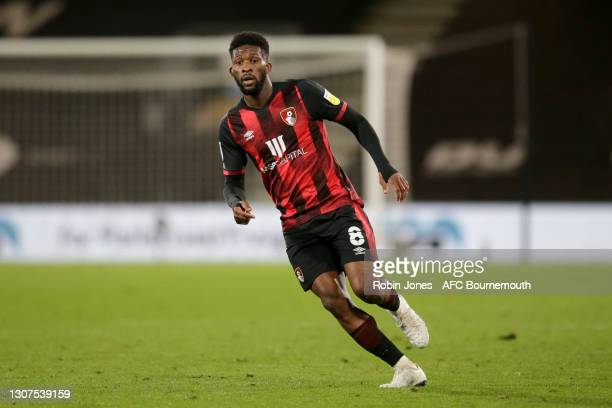 Jefferson Lerma of Bournemouth during the Sky Bet Championship match between AFC Bournemouth and Swansea City at Vitality Stadium on March 16, 2021...
