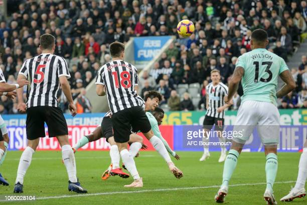 Jefferson Lerma of Bournemouth heads in to make it 21 during the Premier League match between Newcastle United and AFC Bournemouth at St James Park...